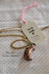 Collana Oro con Croissant in Fimo