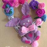 Ghirlanda pannolenci fuoriporta primavera coniglio Pasqua