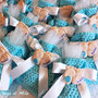 Bomboniera Completa Battesimo Nascita Bimbo Bambino Maschietto Maschio, piedini, sacchettino confetti, calamita