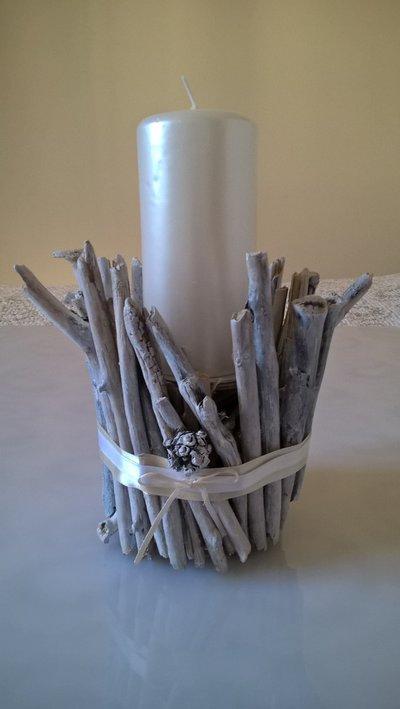 Portacandela porta candele con legni di mare