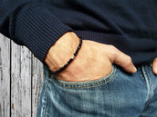 Bracciale da uomo in onice nero con pepite in Argento puro realizzato a mano, con amore.