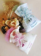 Bomboniera nascita battesimo bimbo sacchetto con confetti e stampa del nome