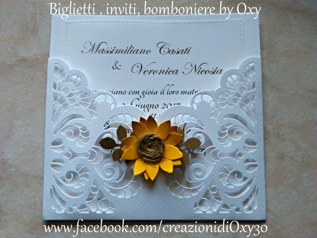Partecipazioni Matrimonio Con Girasoli : Partecipazione matrimonio rustico girasole elegante feste
