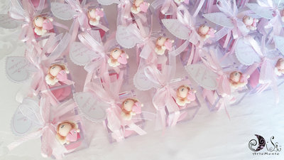 Bomboniere battesimo calamite angelo con cuore bimba con scatola portaconfetti plexiglass cristal