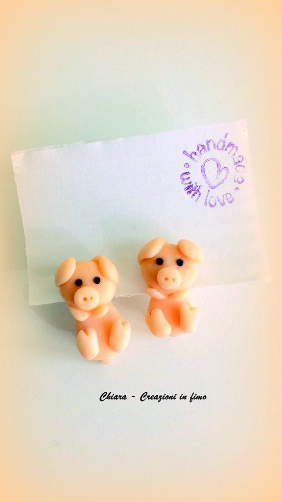Orecchini da lobo in fimo handmade Maialini miniature idee regalo amica compleanno