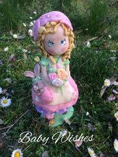 Bambola in pasta di mais primavera Pasqua coniglio