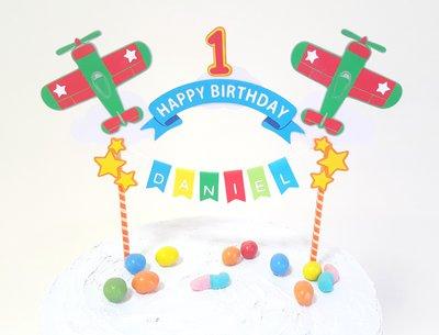 Cake topper Buon Compleanno aeroplanini