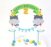 Cake topper Buon Compleanno Hippo