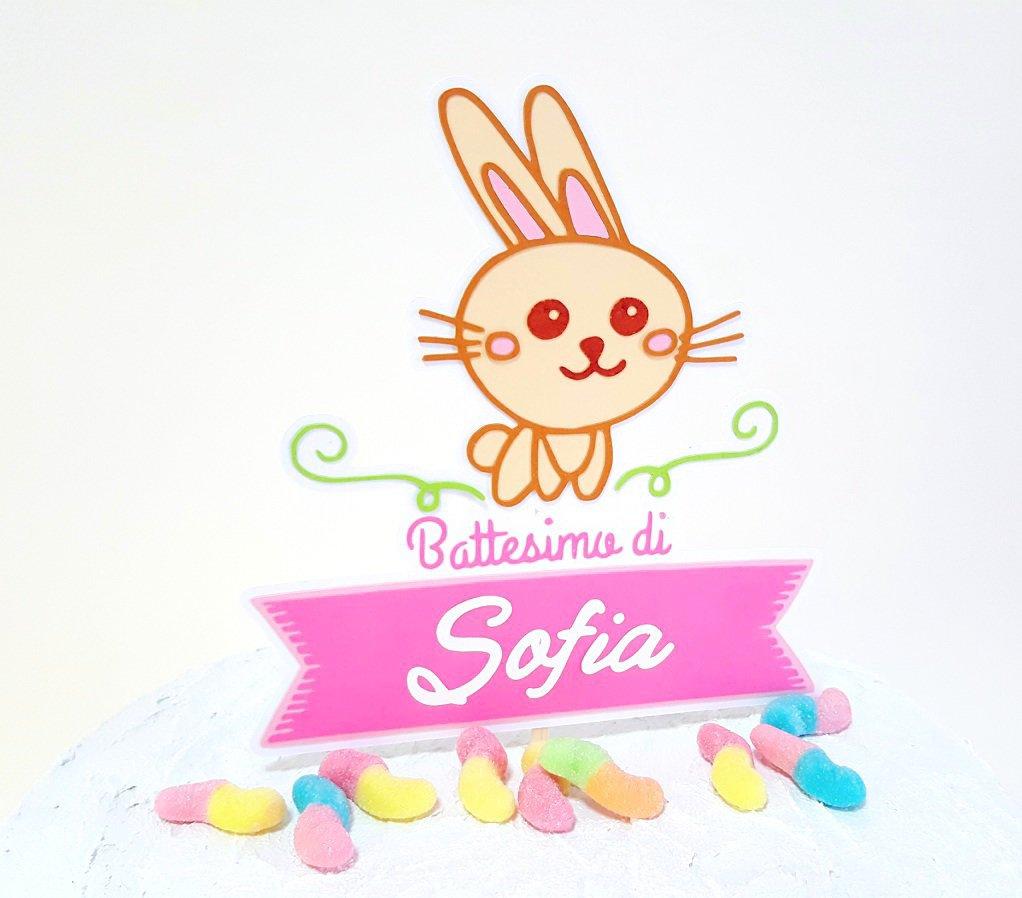 Cake topper Battesimo coniglietto