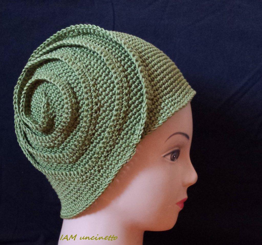 Cappello Berretto Spirale Da Ragazza Donna In Cotone Verde Lavorato