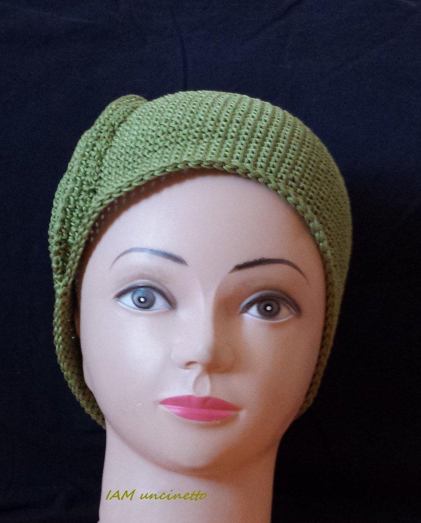Cappello berretto spirale da ragazza donna in cotone verde ...