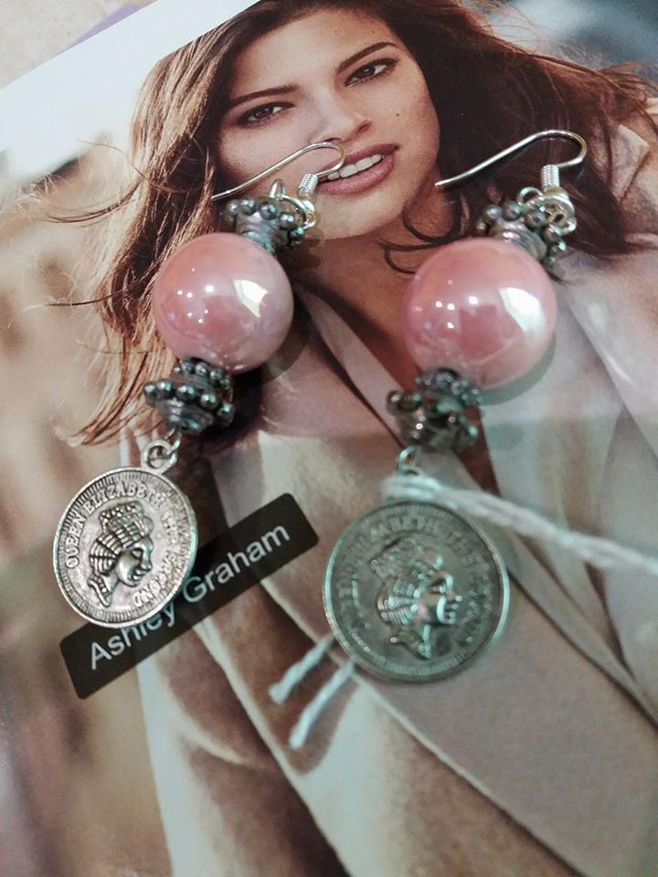 orecchini rosa monete