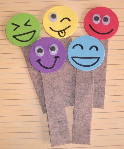 Lotto di Segnalibri in Feltro con Smile^^ - Idea Regalo Party Time! (5 pezzi)