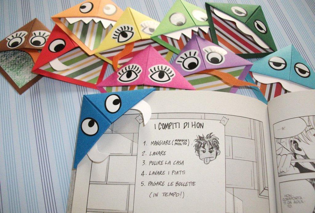 Lotto di Segnalibri in Origami - Mostrini^^ - Idea Regalo Party Time! (10 pezzi)