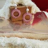 orecchini uncinetto pink