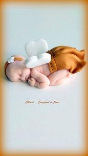 Bomboniere in fimo handmade neonato con ali angioletto per nascita battesimo idea regalo nascita