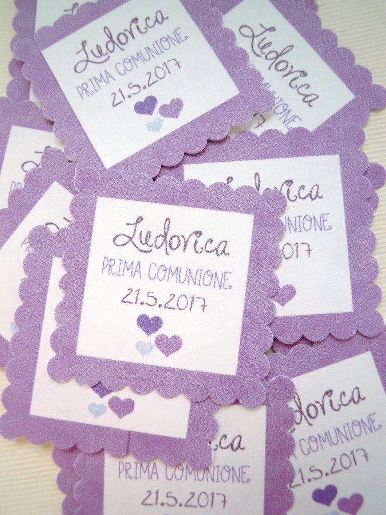 bigliettini quadrati smerlati 3,5 cm viola