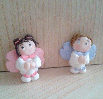 Bomboniera nascita battesimo comunione angeli in fimo