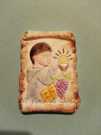 bomboniera pergamena bimbo comunione in pasta polimerica