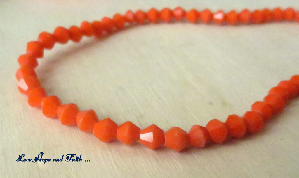 "LOTTO 100 biconi in vetro ""arancio"" (4mm)"