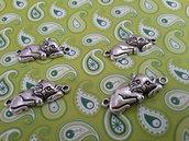 4 charms ciondoli 'Gatto coccolone' argento tibetano