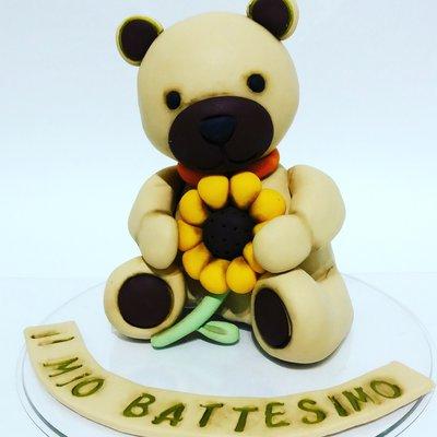 Topper orsetto torta decorazio e girasole