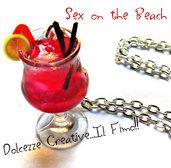 Collana Cocktail Sex on the Beach - miniature idea regalo barman . kawaii