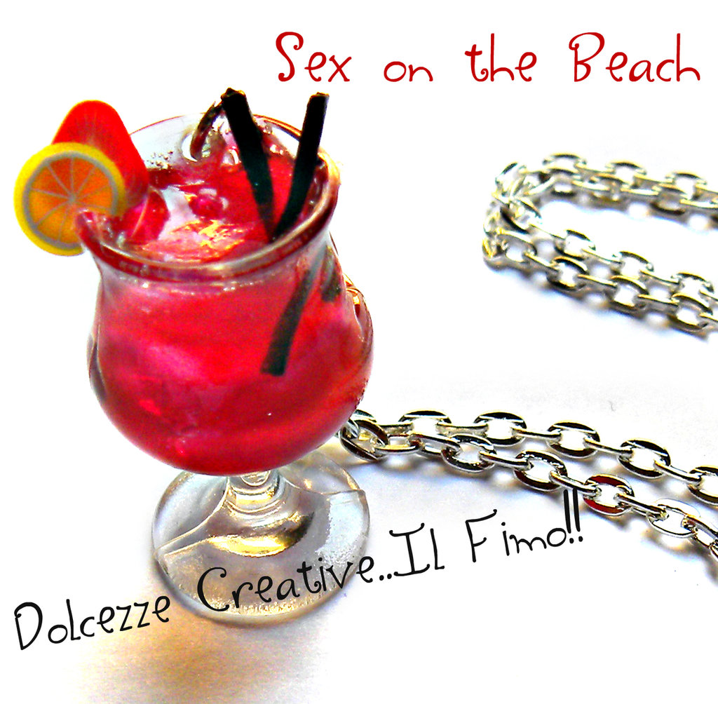 Collana Cocktail Sex on the Beach - miniature idea regalo barman . kawaii