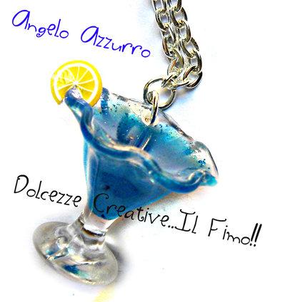 Collana Cocktail Angelo Azzurro  - handmade idea regalo barman - kawaii miniature