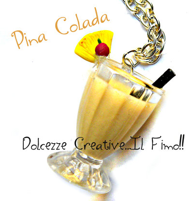 Collana Cocktail  Piña Colada- handmade idea regalo barman - kawaii miniature