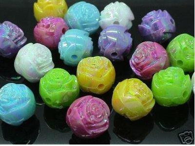 """Perle a forma di Rosa """"Effetto Iridiscente"""" 10 pezzi 13 x 13 x 12mm"""