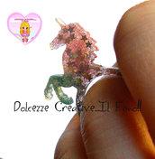 Anello Unicorno - Pastel goth - Stelle e glitter - 19 mm / misura 20/21