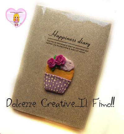 Quaderno da borsa a righe -agenda - IDEA REGALO - Glitterata con cupcake e rose