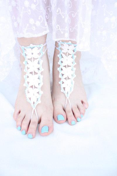 Sandali a piedi nudi, Sandles monili del piede, scarpa per mare