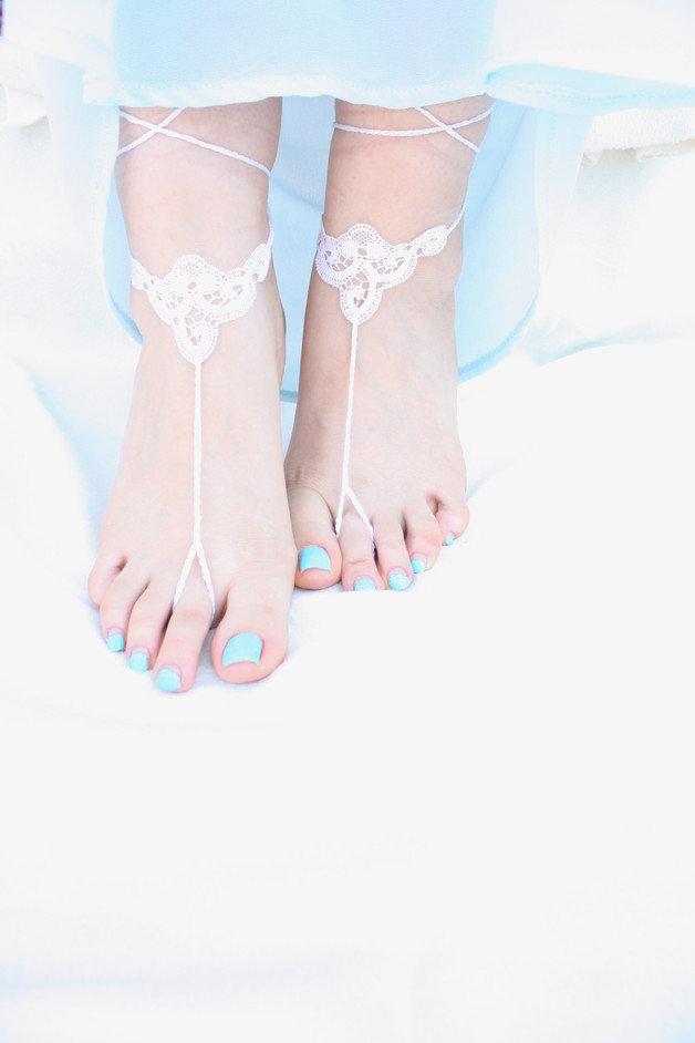 Victorian Lace sandali a piedi nudi, merletto dell'annata