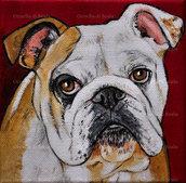 Quadro dipinto ritratto bulldog inglese acrilico su tela