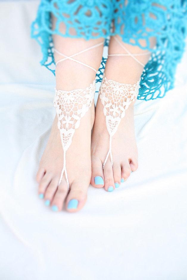 Avorio pizzo sandali a piedi nudi, Scarpe stringate vittoriane