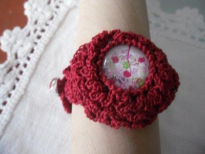 Bracciale in cotone rosso con albero della vita