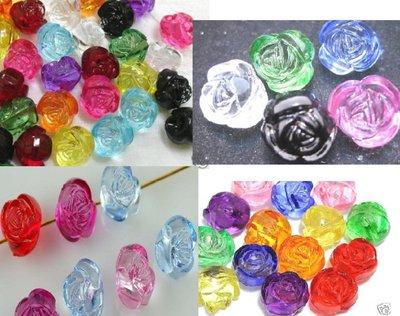 Perle a forma di Rosa acriliche trasparenti 10 pezzi 10mm circa
