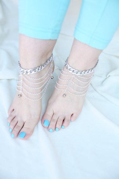 Sandali a piedi nudi, Sandles monili del piede, scarpa Spiaggia