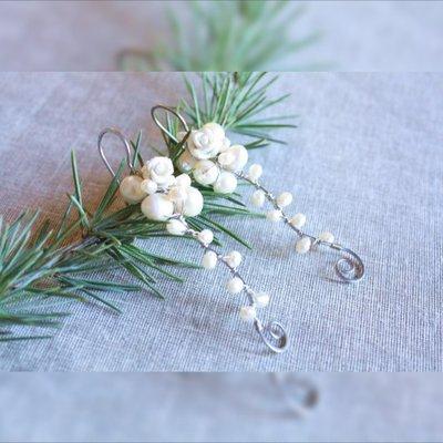 orecchini da sposa perle d'acqua dolce bianche