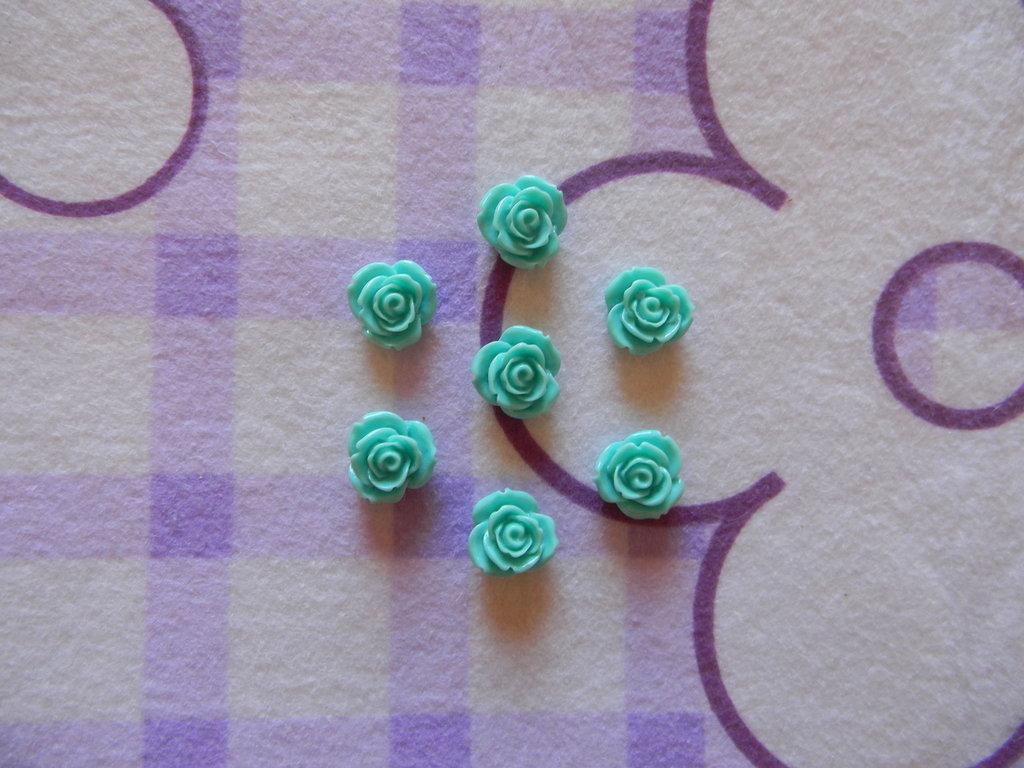 Perle a forma di Rosa verde acqua in lucite SIMIL CORALLO 5 pezzi 20mm circa