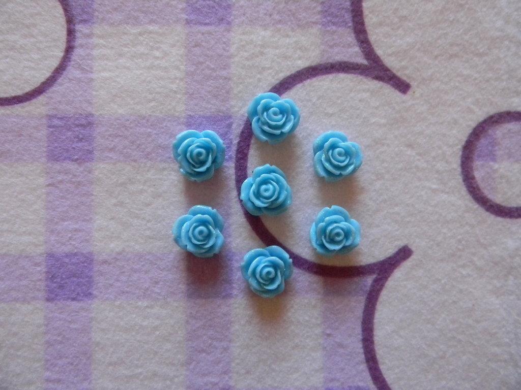 Perle a forma di Rosa azzurre in lucite SIMIL CORALLO 5 pezzi 20mm circa