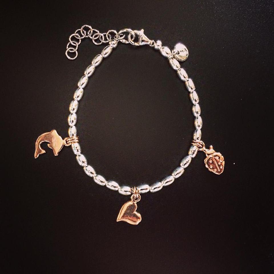 Bracciale ovaline in argento 925 e ciondoli in argento rosè