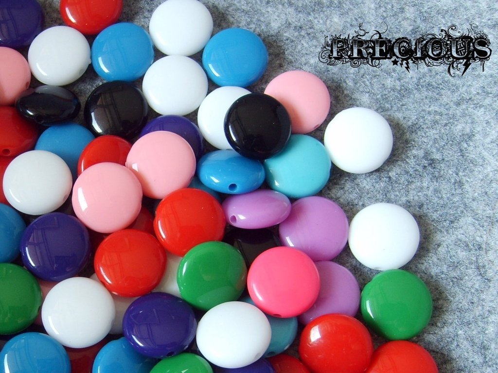 5 pz perline in acrilico tipo smarties