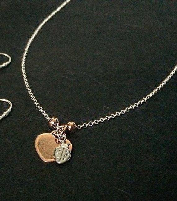 """Collana catena rolò in argento 925 con ciondoli """"Cuore"""" e """"Coccinella"""""""