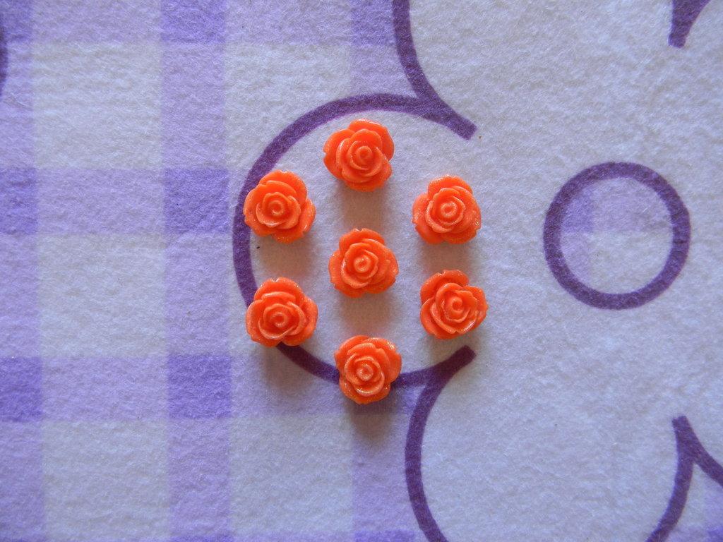 Perle a forma di Rosa arancioni in lucite SIMIL CORALLO 5 pezzi 20mm circa