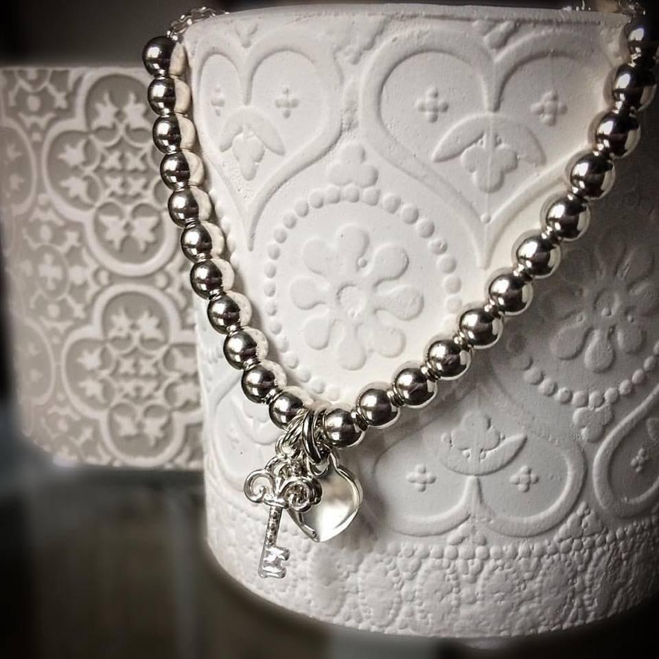 """Bracciale sfere in argento 925 con ciondoli """"Chiave"""" e """"Cuore"""" in argento 925"""