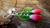 Orecchini tulipani pendenti rosso verde bigiotteria fimo pasta polimerica fiori