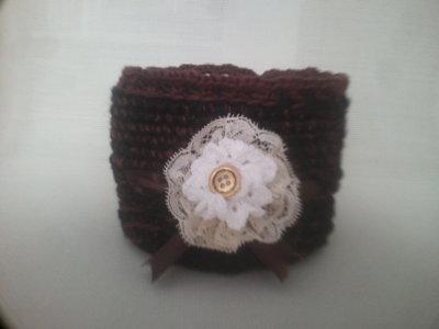 cestino crochet decorato bicolore